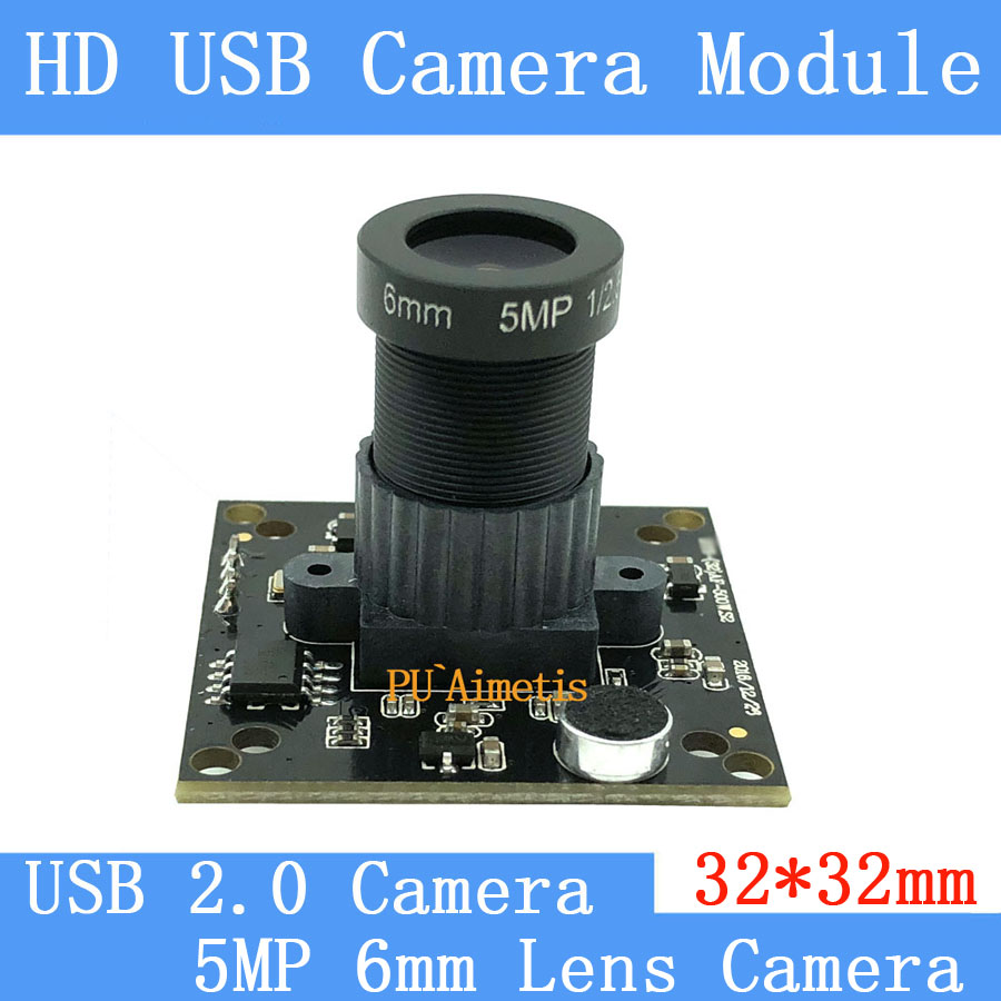 PU`Aimetis 32*32mm Industry Surveillance camera HD 5MP 6MM lens 60 degrees 30FPS Linux UVC USB camera module With audio