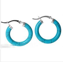 women jewelry Brincos earring Pendientes Natural Green Jade 925 Sterling Silver Ear Hoop Blue Turquoise Earrings natural turquoise and peridot handmade unique 925 sterling silver earrings 1 5 x4688