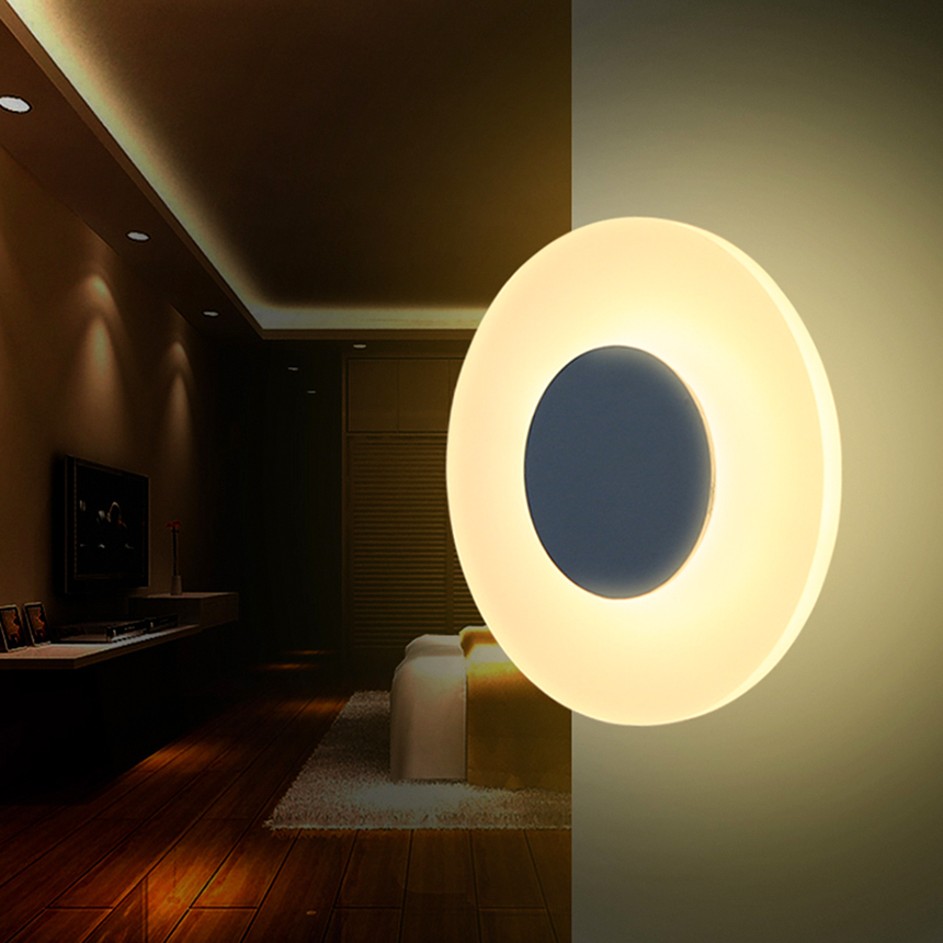 Modern Led Wall lamp With Round Shape High Quality 8W Warm White Wall Lamp Household Living/ Bed Room Led Aluminum Wall light modern led wall lamp black silver metal curve irregular shape warm white cold white 3w led bedside lamp night light ac85 265v page 2 page 3 page 9 page 10 page 7