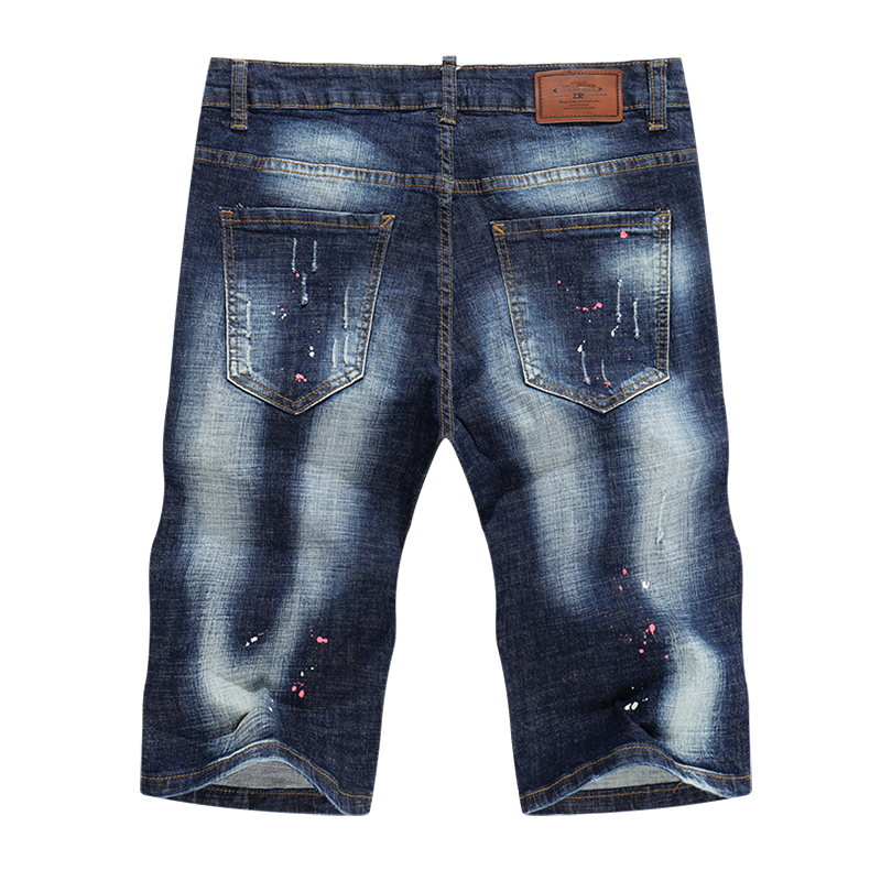 KSTUN Summer Mens Shorts Jeans Man Distressed Painting Frayed Biker Jeans Hollow Out Stretch Blue Denim Pants Short Male Jean 12