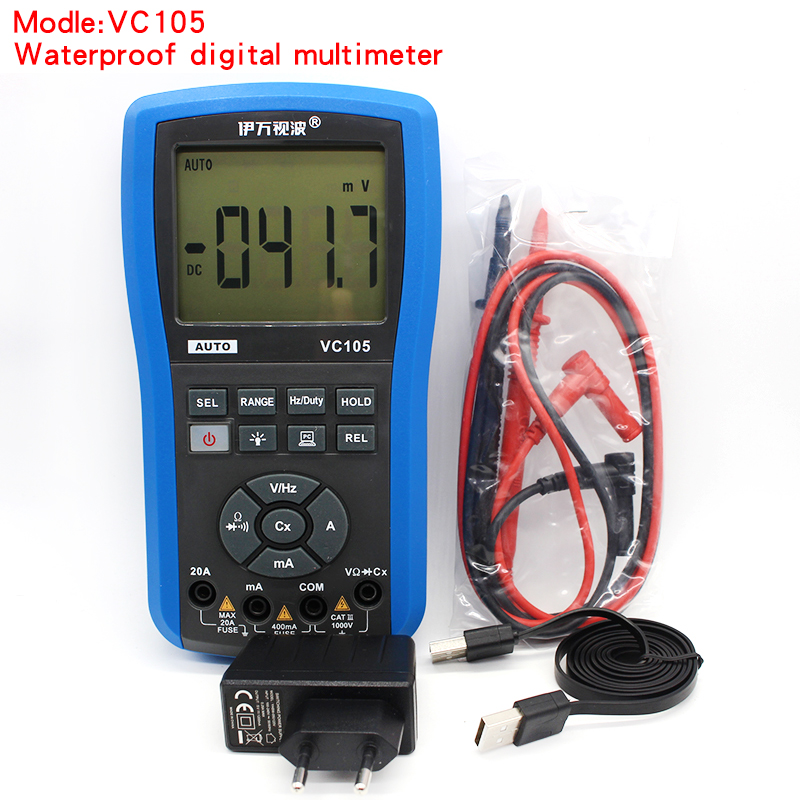 VC105 Water Resistant LCD Digital Multimeter DC AC Voltage tester Current multimetro digital profissional Multimeter мультиметр fuke dt9205a ac dc lcd dt9205a