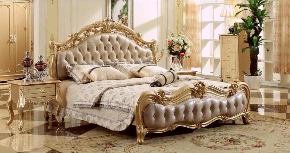 Free Shipping Royal Champagne Golden Carving Leather Bed, King Size European Style Soft Wood Bed Master Bedroom Bed MB A019