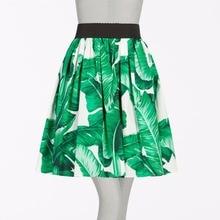 0a828ef0b5a 40- women fashion brand vintage green banana palm leaves elastic waistband swing  skirt plus size