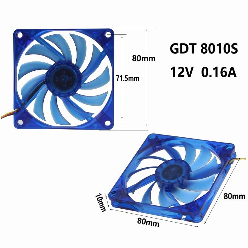 80mm x 10mm 3Pin 12V Blue Wing PC Computer Case CPU GPU VGA Cooling Fan 8010S