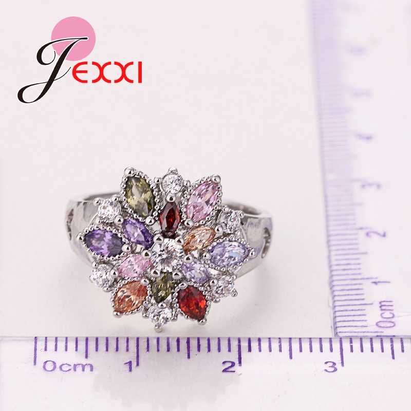 Filles Bling bijoux doigt accessoires mode 925 en argent Sterling colorisé fleur forme anneaux en gros