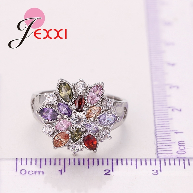 Girls Bling Jewelry Finger Accessories Fashion 925 Sterling Silver Colorized Flower Shape Rings Wholesale 1