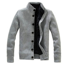 2018 New Thick Men Warm Sweater Cardigan With Fur Good Quality Popular Soft Sweater Men