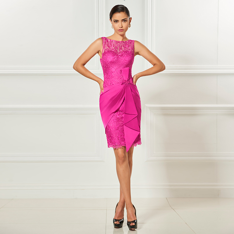 Tanpell sheath short   cocktail     dress   fuchsia sleeveless bateau above knee lace   dress   women party formal customed   cocktail     dresses
