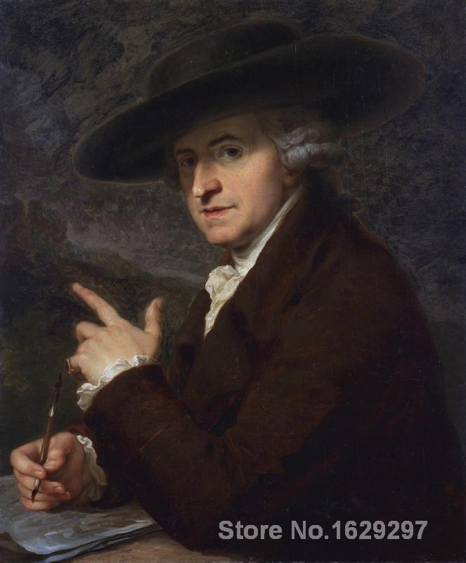Portrait peinture Portrait d'artistes mari le peintre Antonio Zucchi par Angelica Kauffman toile de haute qualité peint à la main