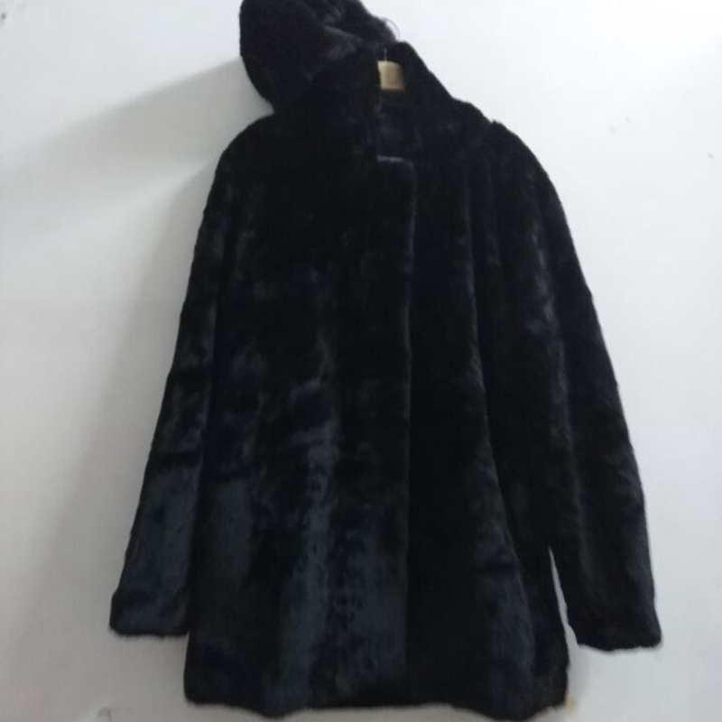new Winter Women Hooded Faux Fur Coat Fashion Warm Long sleeved Loose Black Coat Female Flocking Cotton Jacket Coat Plus Size in Faux Fur from Women 39 s Clothing