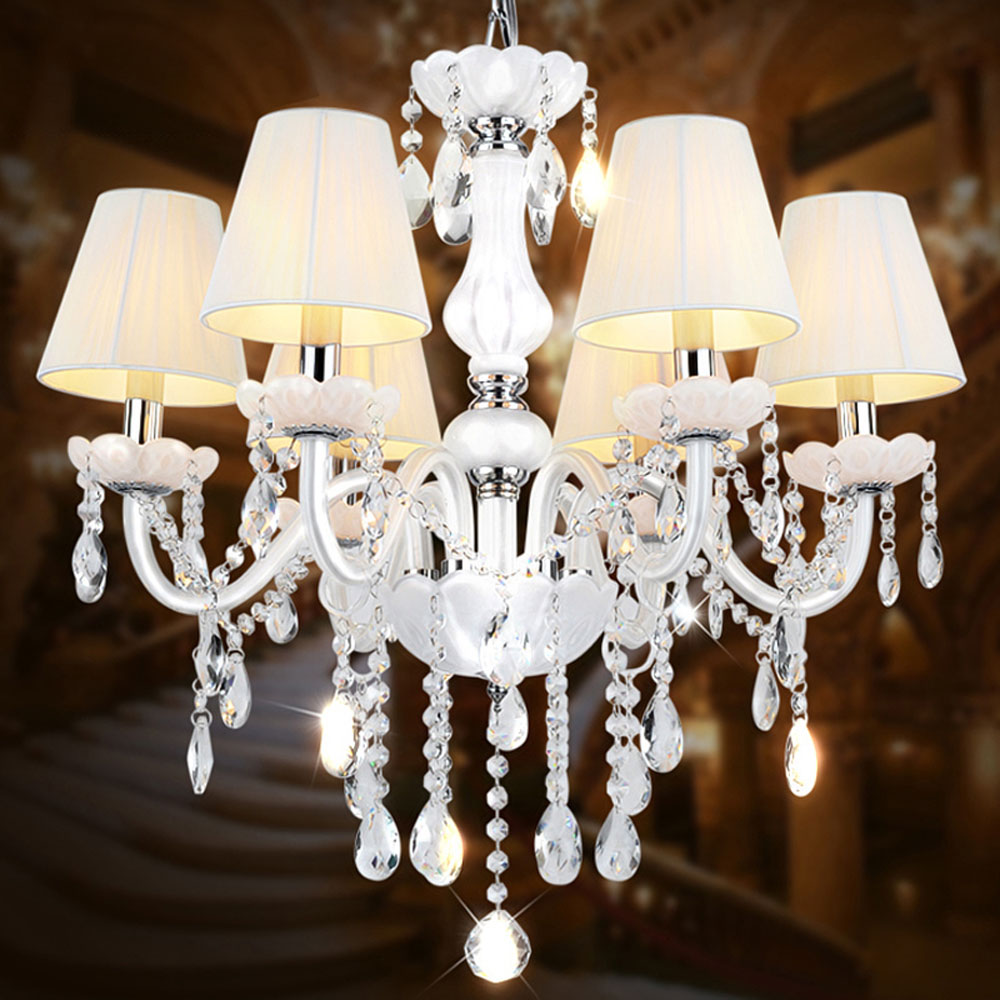 Online buy wholesale chandelier glass white shades from china high quality suspension modern crystal chandelier with shade 110v 220v home lighting led e14 dining arubaitofo Image collections