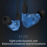 Original KZ ZS5 2DD 2BA Hybrid In Ear Earphone HIFI DJ Monito Running Sport Earphone Earplug