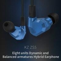 Original KZ ZS5 2DD 2BA Hybrid In Ear Earphone HIFI DJ Monito Running Sport Earphone Earplug