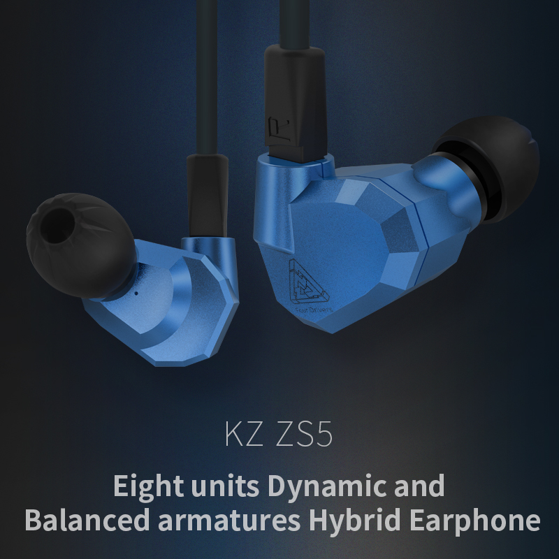 Original KZ ZS5 2DD+2BA Hybrid In Ear Earphone HIFI DJ Monito Running Sport Earphone Earplug Headset Earbud KZ ZST Free Shipping kz ates ate atr hd9 copper driver hifi sport headphones in ear earphone for running with microphone game headset