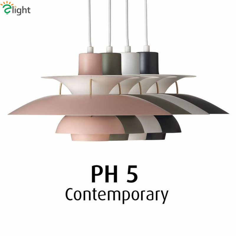 Painted Metal Louis Poulsen PH5 Led Pendant Light Colorful Dia50cm Umbrella Design Dining Room Bar Pendant Light denmark classic design lamp louis poulsen artichoke pendant light aerospace aluminum 38cm 48cm pine cones echinacea light
