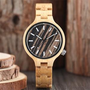 Image 5 - Mode frauen Uhr Natürliche Sandale Holz Bambus Holz Uhren Damen Armband Armbanduhr Quarz Analog Casual Uhr Uhren