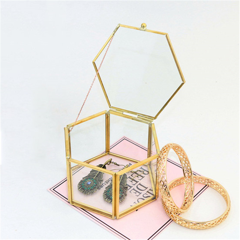 Table-Organizer Storage-Container House Glass Jewelry-Box-Holder Transparent Geometric