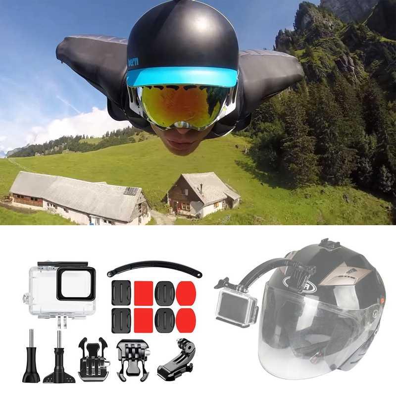 15 в 1 шлем регулируемый плоский Многофункциональный комплект крепления и водонепроницаемый чехол (45 м) для Gopro Hero 7 (черный) 6 5 + Открытый цикл