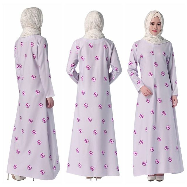 Fashion Design Kaftan Islamic Muslim Abaya Women Chiffon Maxi Long Sleeve Dress 3 Styles