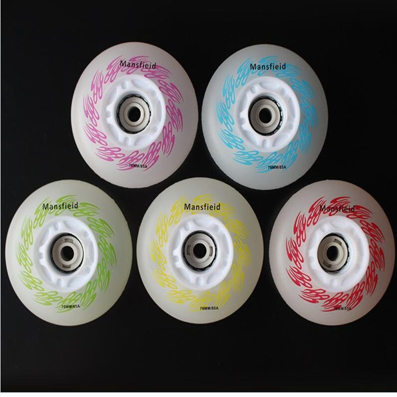 1PC 85A Hardness HardWearing LED Flash Shining Inline Skate Wheels 5 Colors Roller Skate Wheels  With Magnetic Core & Bearings