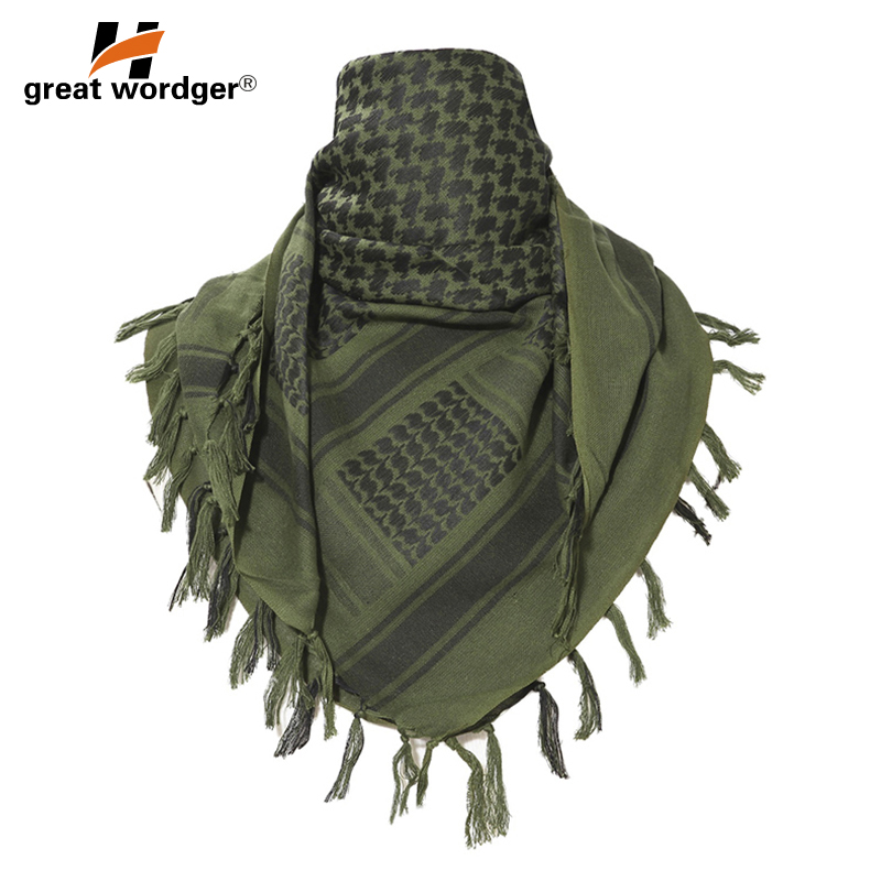 Image 2 - 100% Cotton Tactical Desert Arabic Scarf Men Arab Military Keffiyeh Scarf Thick Muslim Hijab Windproof Hunting Hiking Head Scarf-in Scarves from Sports & Entertainment