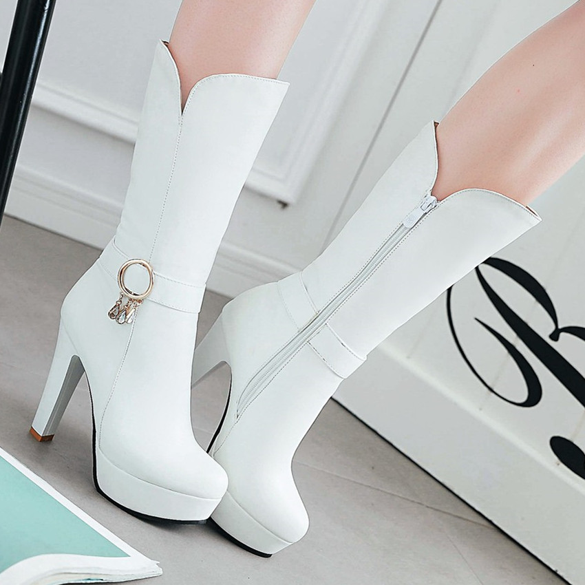Autumn Winter Woman Platform High Heels Mid Calf Boots Women Short Boots Shoes botas botte femme Plus Size 34 - 40 41 42 43