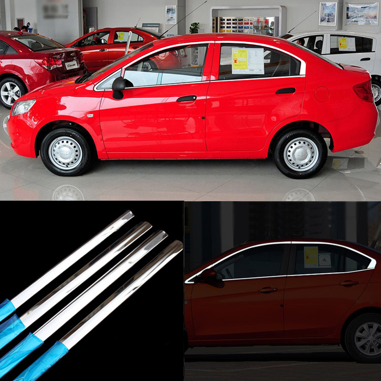 Ipoboo 10pcs Stainless Steel Door Window Frame Sill Molding Trim For Chevrolet Sail stainless steel upper window frame sill trim 8pcs for fusion mondeo 2013 2014
