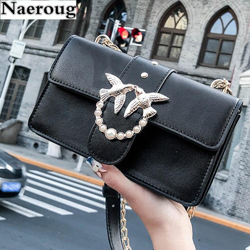 Women Swallow Chains Rivets Flap Bag Leather Fashion Shoulder Messenger Bags Designer Famous Brand Women Bags Handbags and Purse stylish chains and rivets design women s tote bag