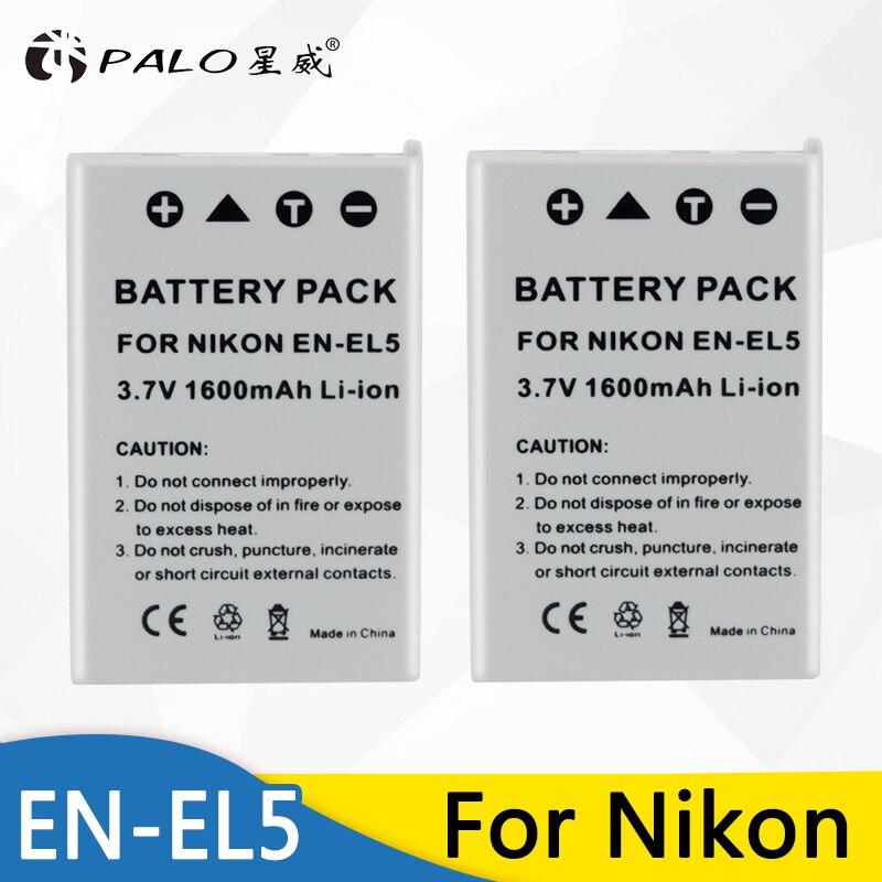 2 piezas EN-EL5 es EL5 ENEL5 1600 mAh recargable batería de la cámara para Nikon Coolpix P4 P80 P90 P100 P500 P510 p520 P530 P5000 P6000