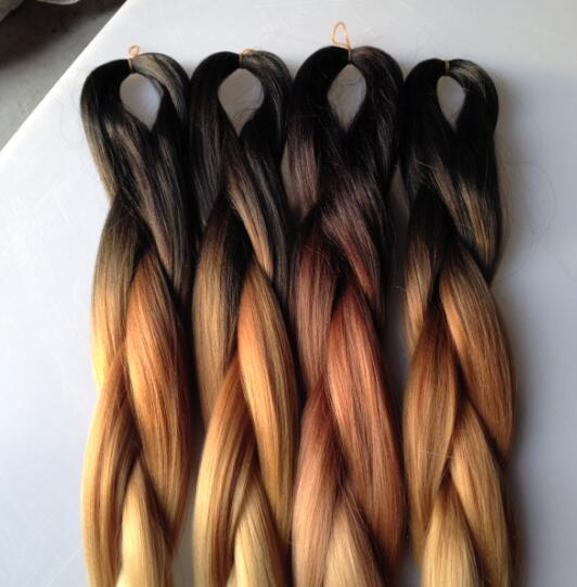 Black Brown Blonde Ombre 3 Tone Color Synthetic Braiding Hair Bulk