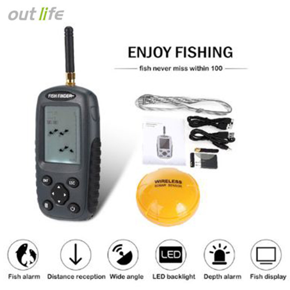 Outlife FF998 Sonar Wireless Fish Finder 40M Depth 125KHz Sonar Sensor Echo Sounder Fishing Finder Fish Alarm With LED Backlight portable fish finder bluetooth wireless echo sounder underwater bluetooth sea lake smart hd sonar sensor depth