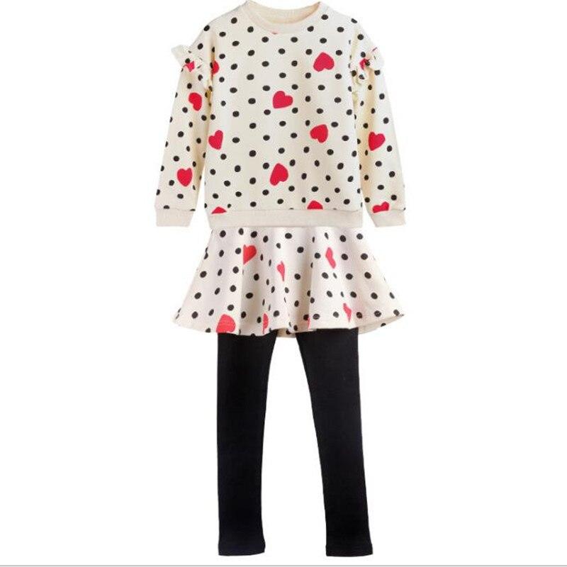 DFXD Teenagers Girls Clothing Set Spring 2018 Cotton 2pc Girls Outfits Long Sleeve Heart Dot Print Top+Skirt Pant Girl Set 4-12Y mandala print skirt