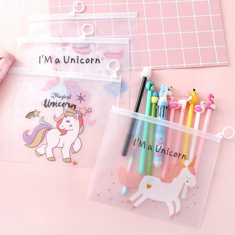Cute Unicorn Cosmetic Bag Ring Zipper Toiletry Transparent Travel Storage Make Up Organizer Pouch Small Portable Makeup Case kit in Cosmetic Bags Cases from Luggage Bags