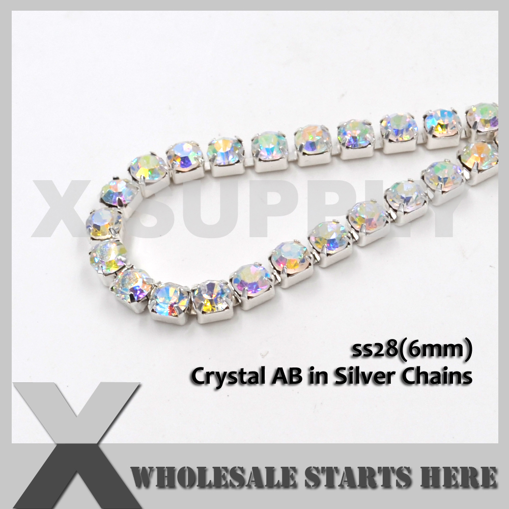 P1 SS28 (6mm) SILBERDICHTE Kristallrhinestone-Schalen-Ketten, benutzt - Kunst, Handwerk und Nähen - Foto 5
