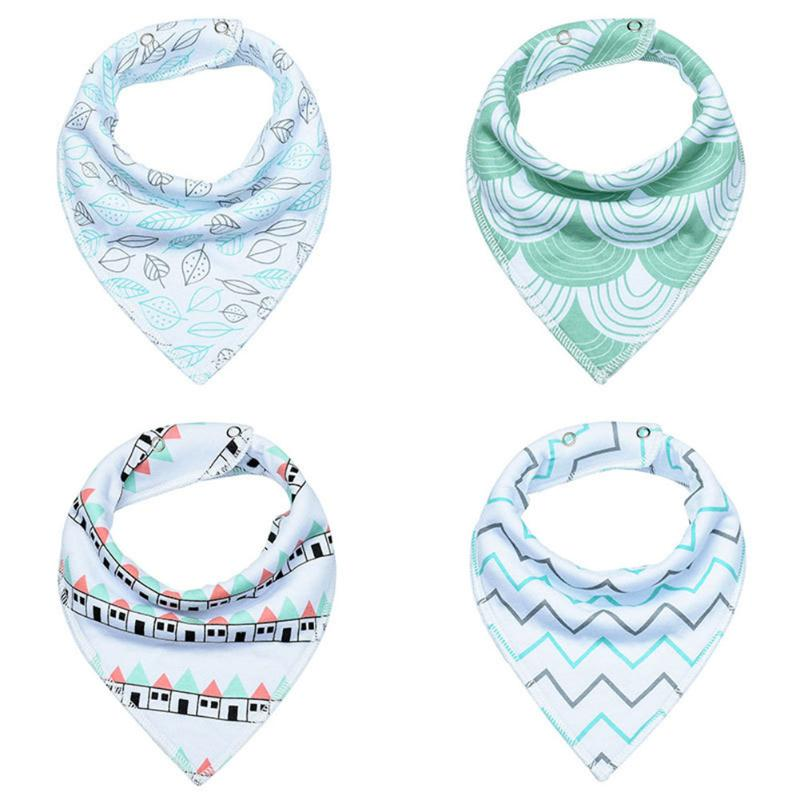 4pcs Cotton Baby Bib Burp Boys Girls Bib Saliver Towel Cartoon Baby Bandana Newborn Baby Infant Bib Wrap