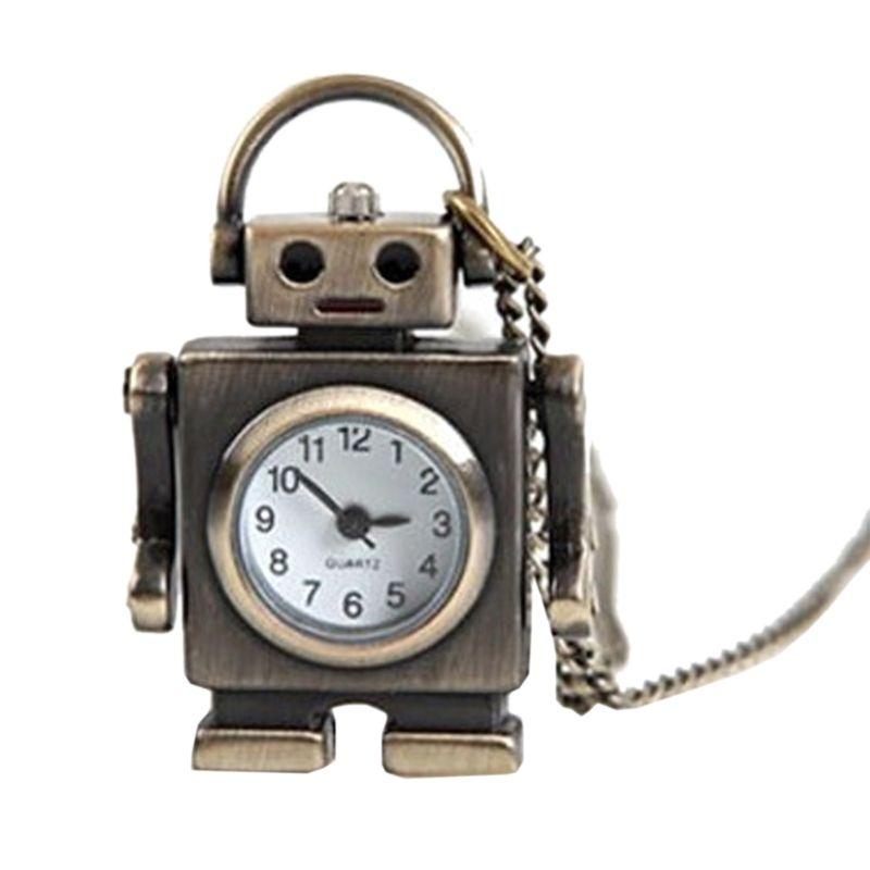 Vintage Fashion Pocket Watch Bronze Robot Creative Cute Decoration Pendant Chain Necklace Charm Antique Classic Watches