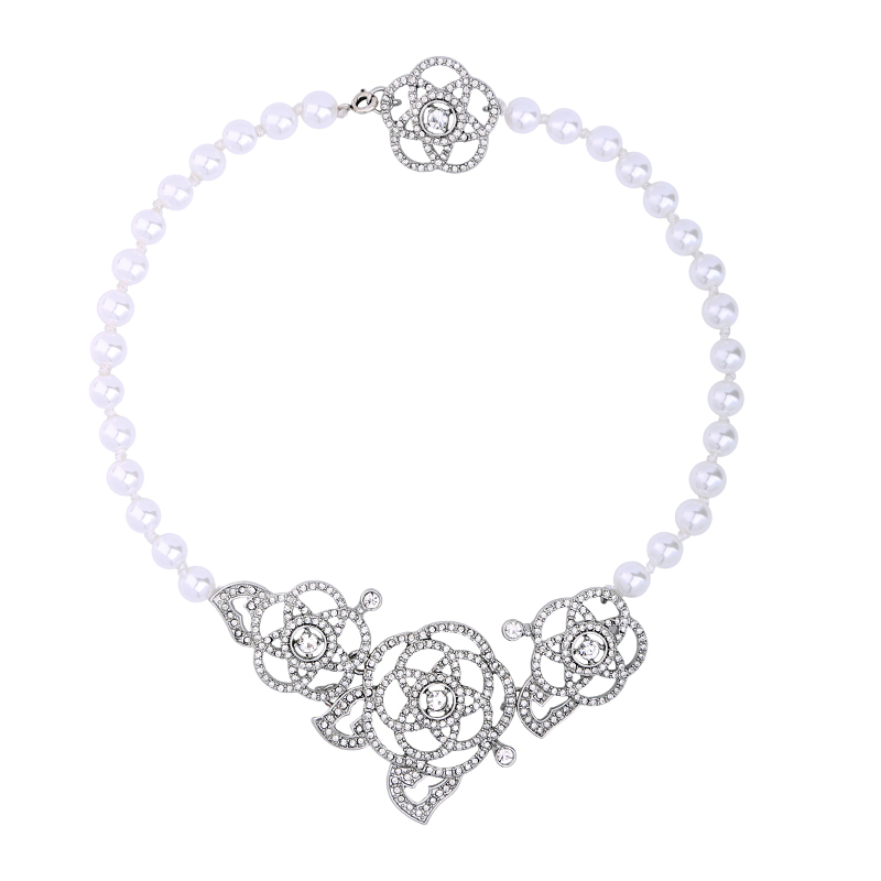 Beaded Chain Hollowed Crystal Flower Necklace Perfus