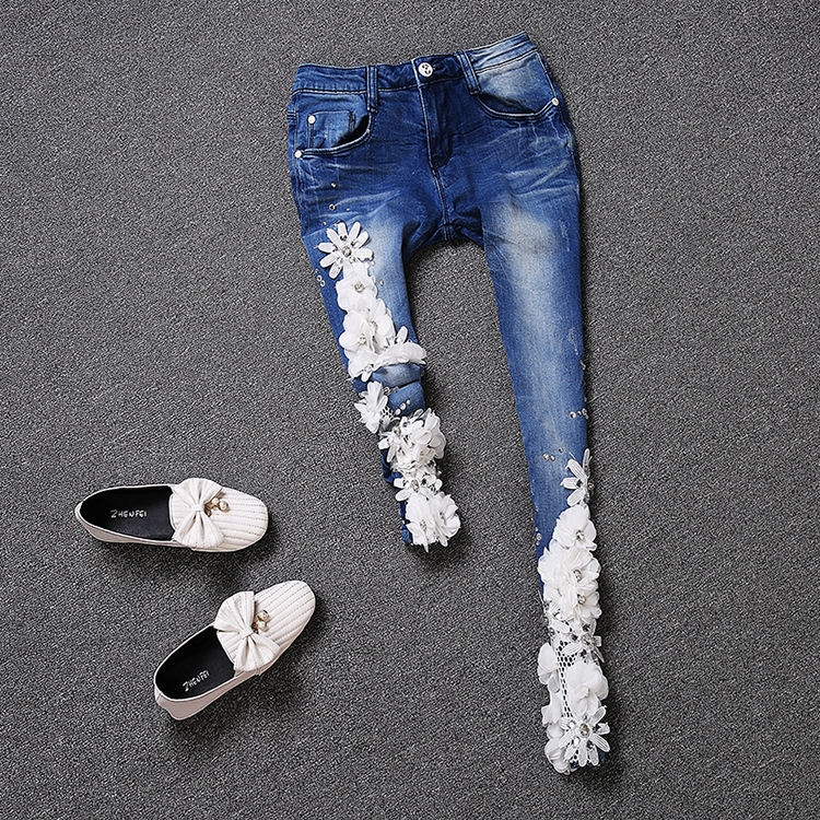 2017 new fashion lady's elegant three-dimensional flowers diamonds pencil jeans, women's flower mesh jeans