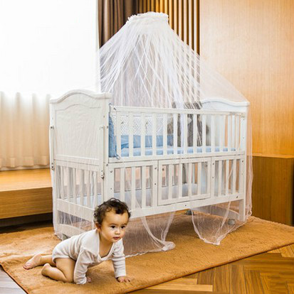 Cribs Cottage Cradle Bed Folding bed with mosquito nets Roller multifunctional baby bed neonatal