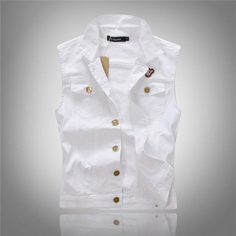 Men White Denim Vest Fashion Outwear Jeans Waistcoat ...