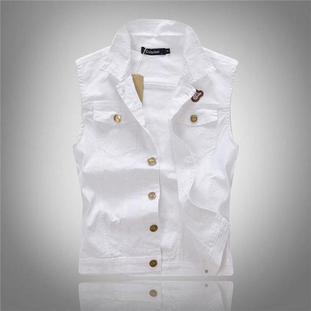 67e48ad8786 Men White Denim Vest Fashion Outwear Jeans Waistcoat Sleeveless Special  Logo Motorcycle Club Autumn Top Denim Jacket Vest M-XXXL