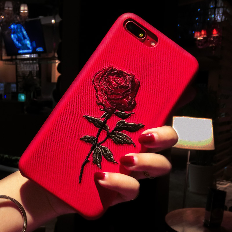 Embroidery Rose Iphone X XS 7 8 6 6S Plus Cover Coque For Iphone 7 6 8 Case 360 Degree For Iphone XS Cases