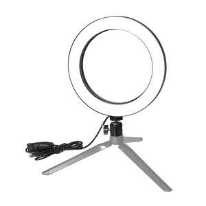 Image 4 - Photographie LED Selfie lumière annulaire 16/26cm trois vitesses éclairage continu réglable avec tête de berceau pour maquillage vidéo Studio en direct