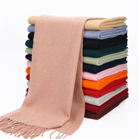 New Fashion Autumn Pure Color Wool Scarf Lambs Wool Plain Wraps Women Long Warm Scarves
