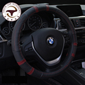 """TOP QUALITY Top layer Leather CAR STEERING WHEEL COVER Black Color Soft Non-Slip 38CM For Steering Wheel 14-15"""" 95% Cars"""