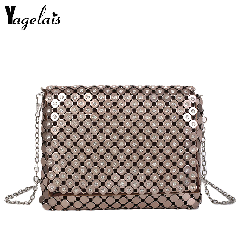 2018 New Mini Crossbody Chain Bag Fashion Women Girl Cover Designer Champagne Color Leather Shoulder Bag with Bling Sequins