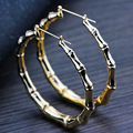 MeMolissa Fashion Gold Plated Bamboo Hoop Earring Statement Big Punk Round Club Hoop Earrings for Women