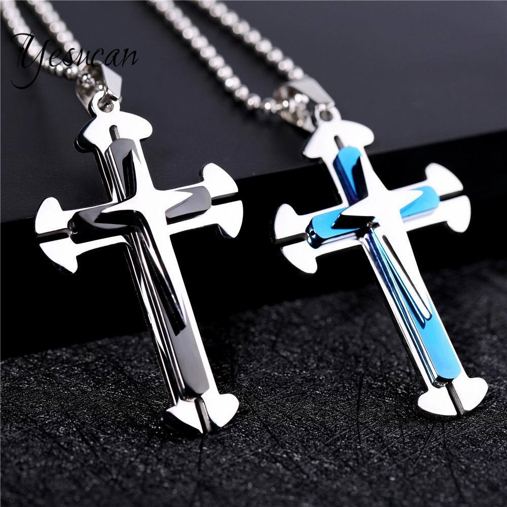 Yesucan Christian Cross Religious Jewelry Hip Hop Man Punk Jewelry Black Pendant Fashion Bead Chain 60cm Gothic Necklace Gift