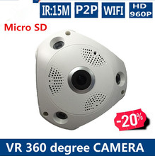 360 Degree Wide Range Panoramic Dome CCTV Security IP 1.3MP Audio Camera NighVision WIFI IP VR 3D Camera Surpport Micro SD