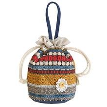 Homeda nuevas mujeres portables manojo moda bolsillo algodón fanric bombeo cubo flor bolsos nacional Bolsos Mujer Z0259